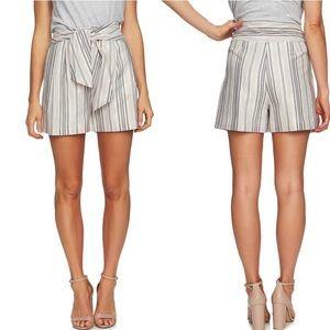 CeCe Metallic Pink Stripe Tie Waist Shorts NWT